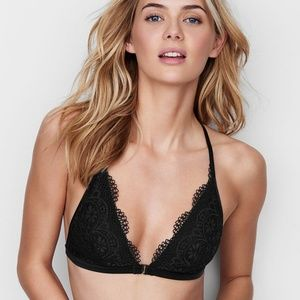 Victoria's Secret Black Lace Front Close Bralette